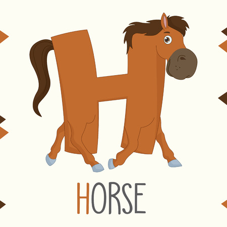Alphabet Letter H And Horse Vector illustration.