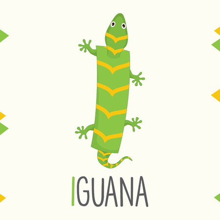 Alphabet Letter I And Iguana Vector illustration. Illustration