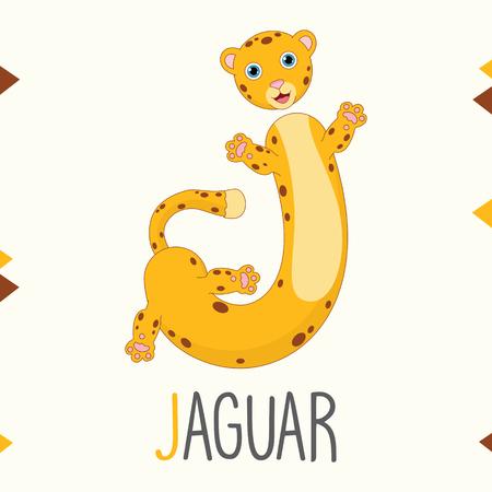 Alphabet Letter J And Jaguar Vector illustration.