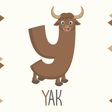 Alphabet Letter Y And Yak Vector illustration. Ilustração
