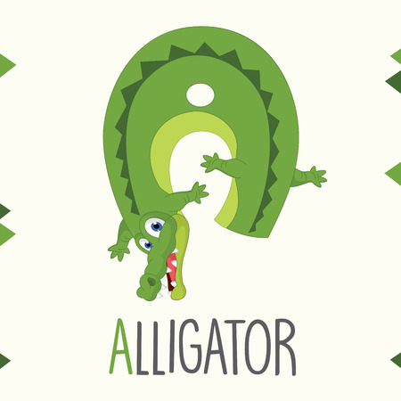 Alphabet Letter A And Alligator Vector illustration.