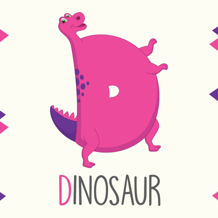 Alphabet Letter D And Dinosaur Vector illustration. Stock Illustratie