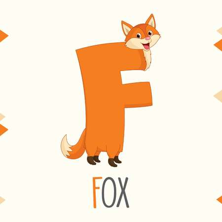 Alphabet Letter F And Fox Vector illustration. Illusztráció