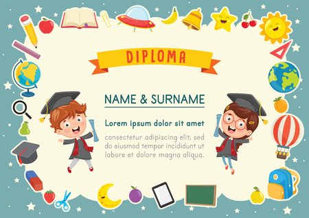 Vector Illustration Of Kids Diploma Çizim