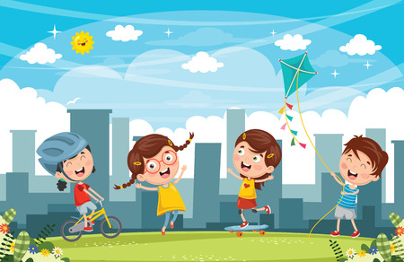 Vector Illustration Of Kids Playing At Park