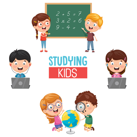 Vector Illustration Of Kids Studying
