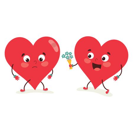 Vector Illustration Of Heart Character Illustration