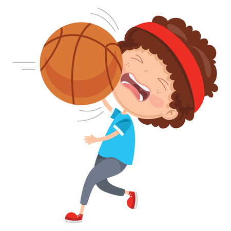 Vector Illustration Of Kid Hurting From Ball Accident Ilustracja