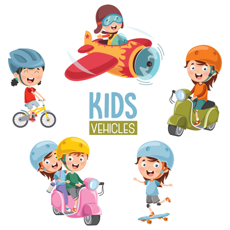 Vector Illustration Of Kids Transportation