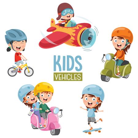 Vector Illustration Of Kids Transportation