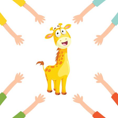 Ilustración vectorial de manos de dibujos animados con jirafa