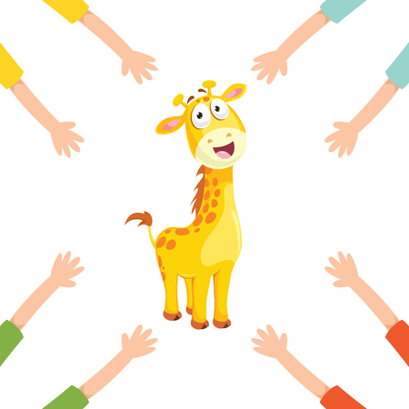 Vector Illustration Of Cartoon Hands With Giraffe