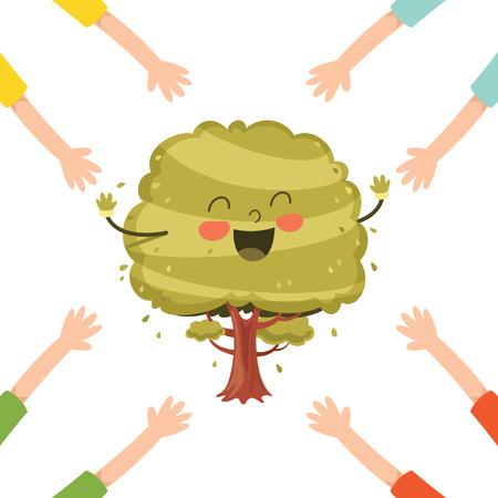 Vector Illustration Of Cartoon Tree