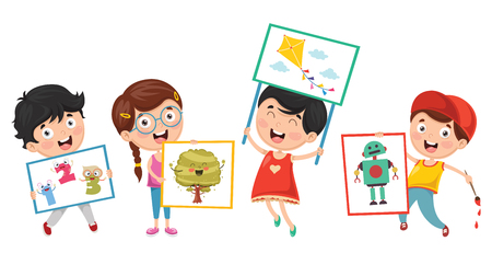 Ilustración vectorial de niños pintando