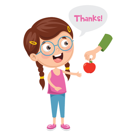 Vector Illustration Of Kid Give Thanks 스톡 콘텐츠 - 100999901