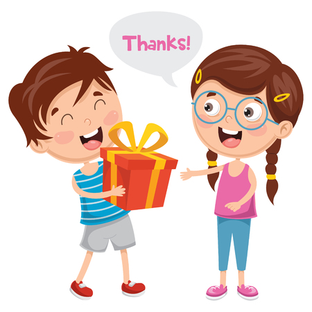 Vector Illustration Of Kid Giving Gift To His Friend