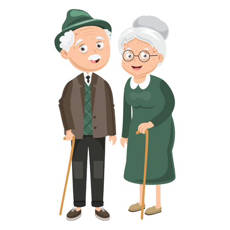 Vector Illustration Of Grandparents