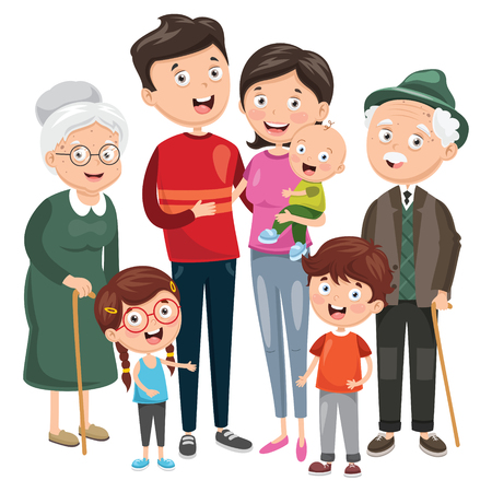 Vector Illustration Of Happy Family 일러스트