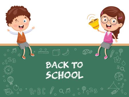 Vector Illustration Of Kids Sitting On Blank Board