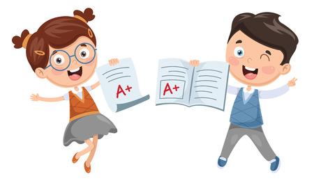 Illustration vectorielle d'étudiant montrant son diplôme