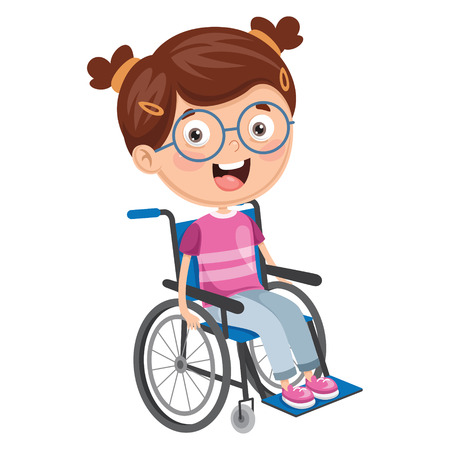 Vector Illustration Of Disabled Kid Illustration