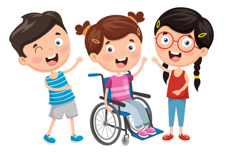 Vector Illustration Of Disabled Kid Ilustração