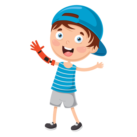 Vector Illustration Of young boy Disabilities.