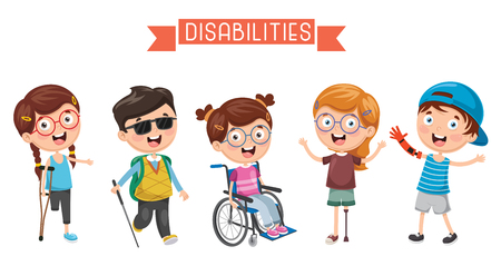 Ilustración de vector de discapacidades de los niños.