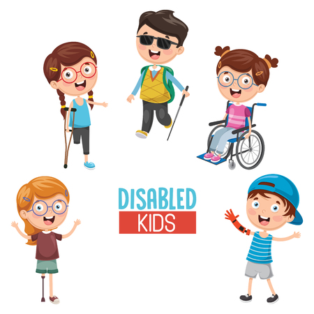 Vector Illustration Of kids Disabilities.
