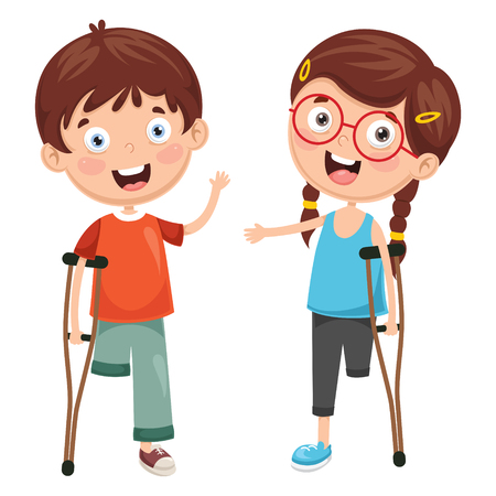 Vector Illustration Of kids Disabilities.