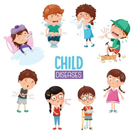 Ilustración vectorial de enfermedades infantiles Ilustración de vector