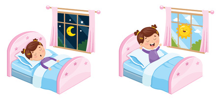 Vector Illustration Of Kid Sleeping Ilustração