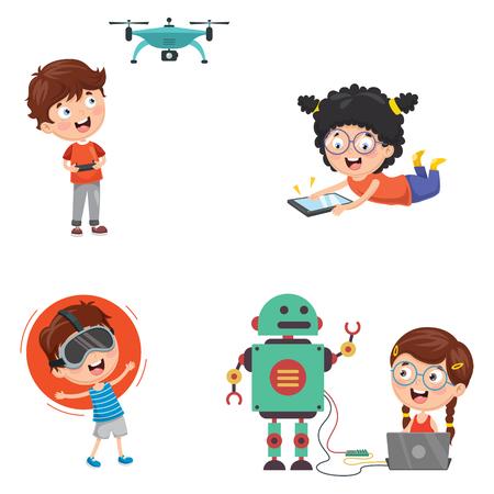 Vector Illustration Of Kids Technology