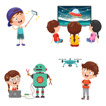 Vector Illustration Of Kids Technology