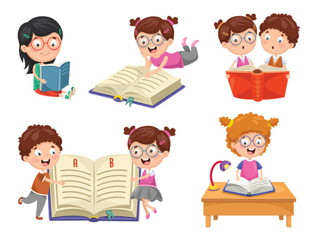 Vector Illustration Of Reading Book