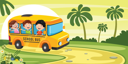 Vector Illustration Of School Children Illustration