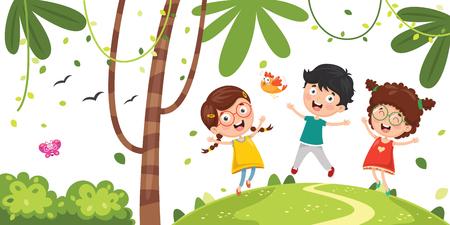 Vector Illustration Of Kids Playing Stockfoto - 101799581