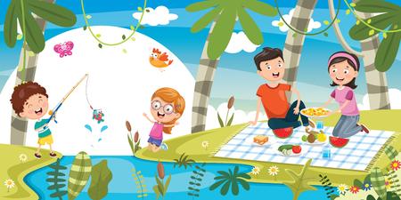Vector Illustration Of Family Picnic