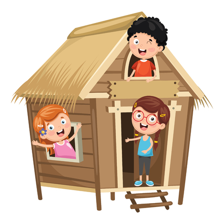 Vector Illustration Of Kids Playing