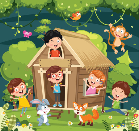 Vector Illustration Of Kids Playing Stockfoto - 101799585