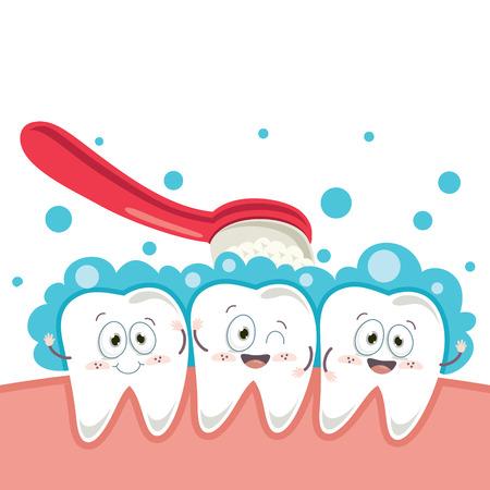 Illustration vectorielle de dent de dessin animé
