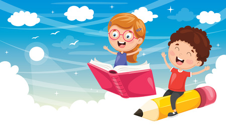 Vector Illustration Of School Children Flying