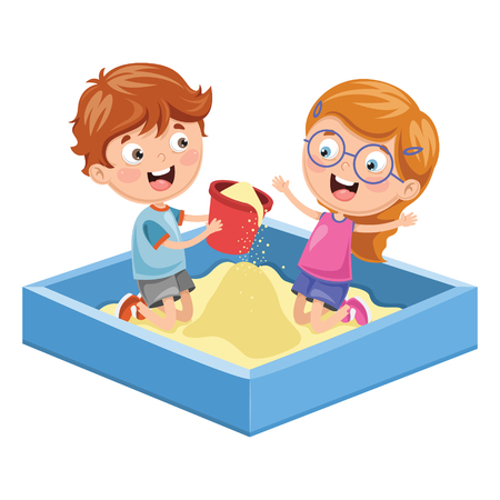 Vector Illustration Of Children At Park Çizim
