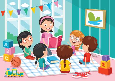 Ilustración vectorial de niños en edad preescolar