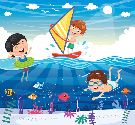 Vector Illustration Of Kids Playing At Beach and Sea Vectores