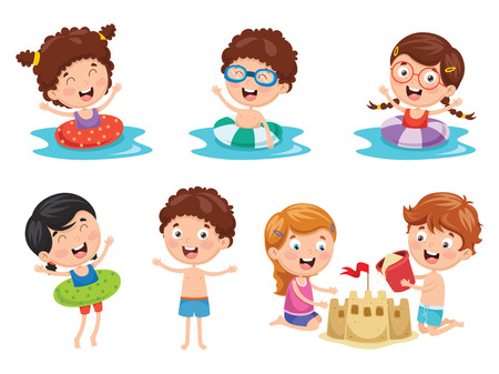 Vector Illustration Of Kids Playing At Beach and Sea 矢量图像