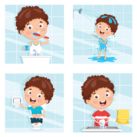 Illustrazione vettoriale di bambino che bagna, lavarsi i denti, lavarsi le mani dopo la toilette Vettoriali