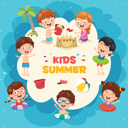 Vector Ilustration Of Summer Kids Illustration