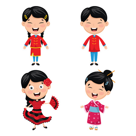 Vector Illustration Of World Kids