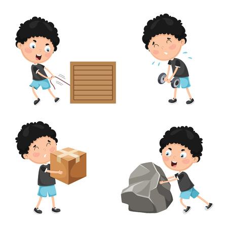 Illustration vectorielle des activités physiques des enfants